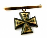 Antique 9ct Gold Whitby Jet Maltese Cross Bar Drop Brooch.